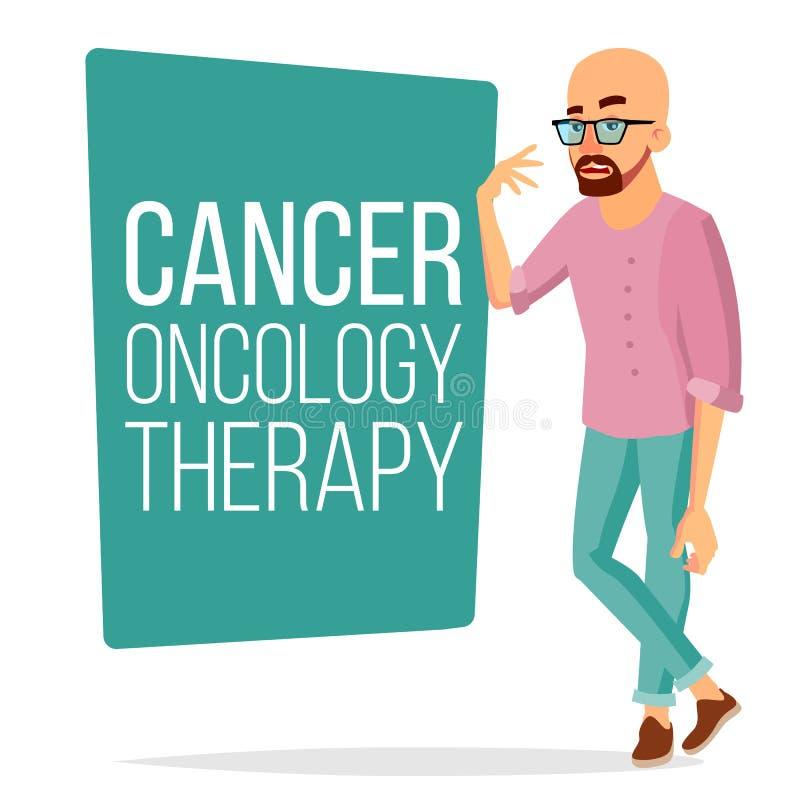 Vettore paziente dell'uomo di chemioterapia Maschio malato con Cancro Concetto medico di terapia di oncologia trattamento hairles illustrazione vettoriale