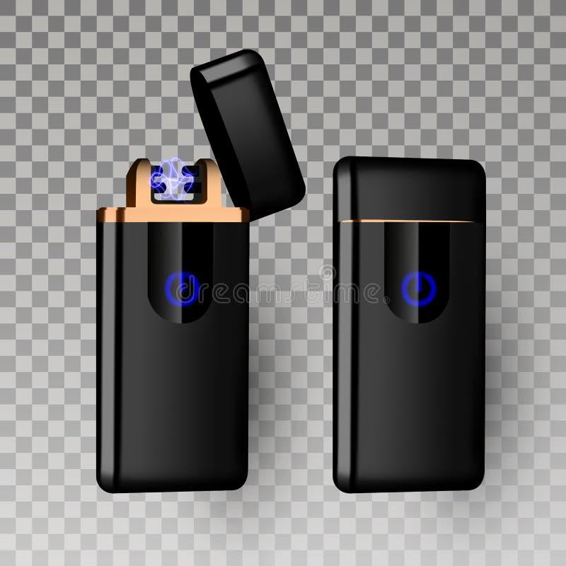 Vettore più leggero Strumento più leggero del gas della sigaretta bruciarsi icona più leggera elettrica piezo-elettrica realistic illustrazione vettoriale