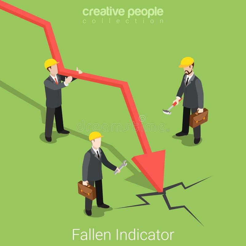 Vettore piano caduto 3d di affari delle azione del mercato dell'indicatore isometrico illustrazione di stock