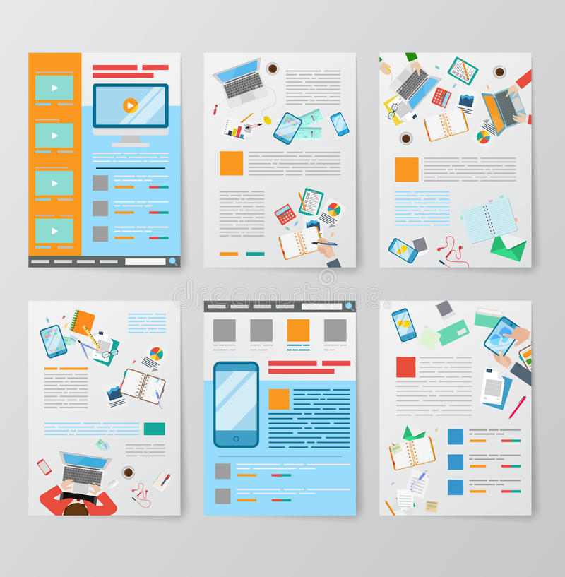 Vettore piano dei video del cellulare di app del GUI UI UX modelli dell'interfaccia utente royalty illustrazione gratis