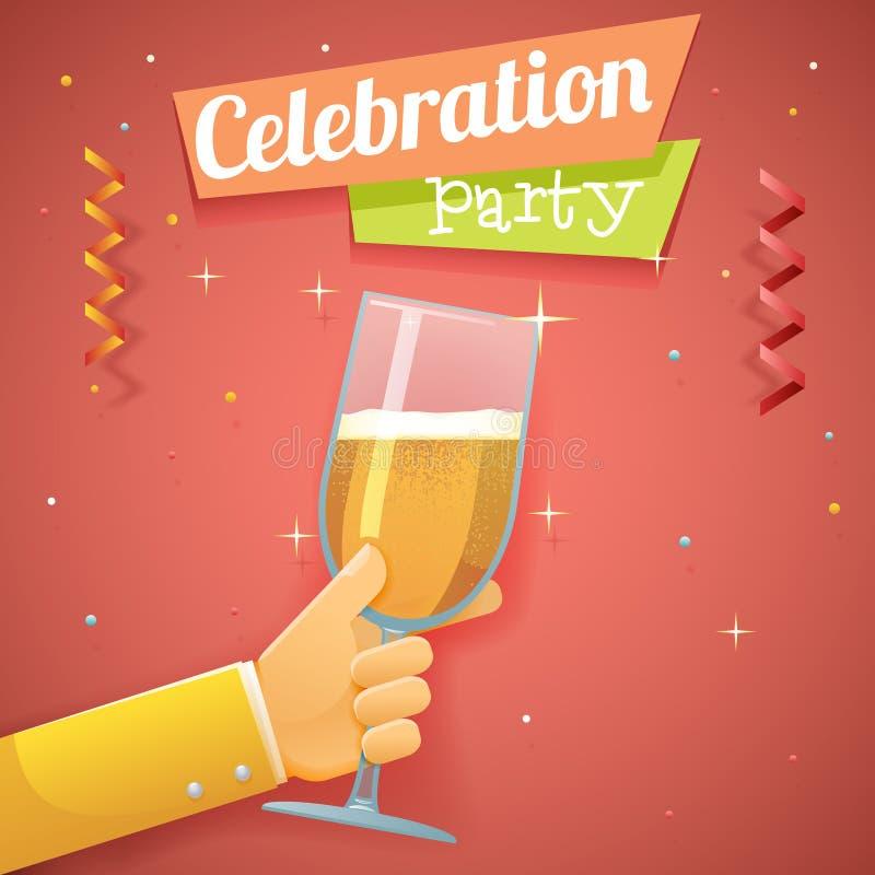 Vettore piano del modello di progettazione del champagne della tenuta della mano del pane tostato di impegno di celebrazione di s illustrazione di stock