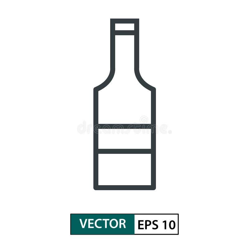 Vettore piano dell'icona della bottiglia linea stile Isolato su bianco Illustrazione ENV 10 di vettore illustrazione vettoriale