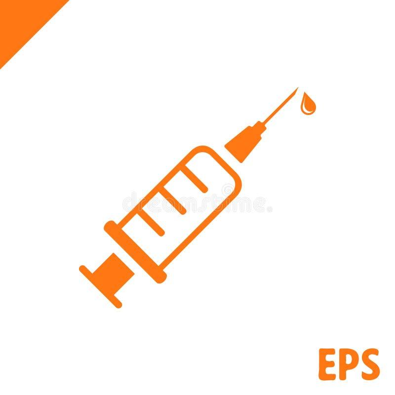 Vettore piano dell'icona della siringa dell'iniezione per i apps ed i siti Web medici illustrazione di stock