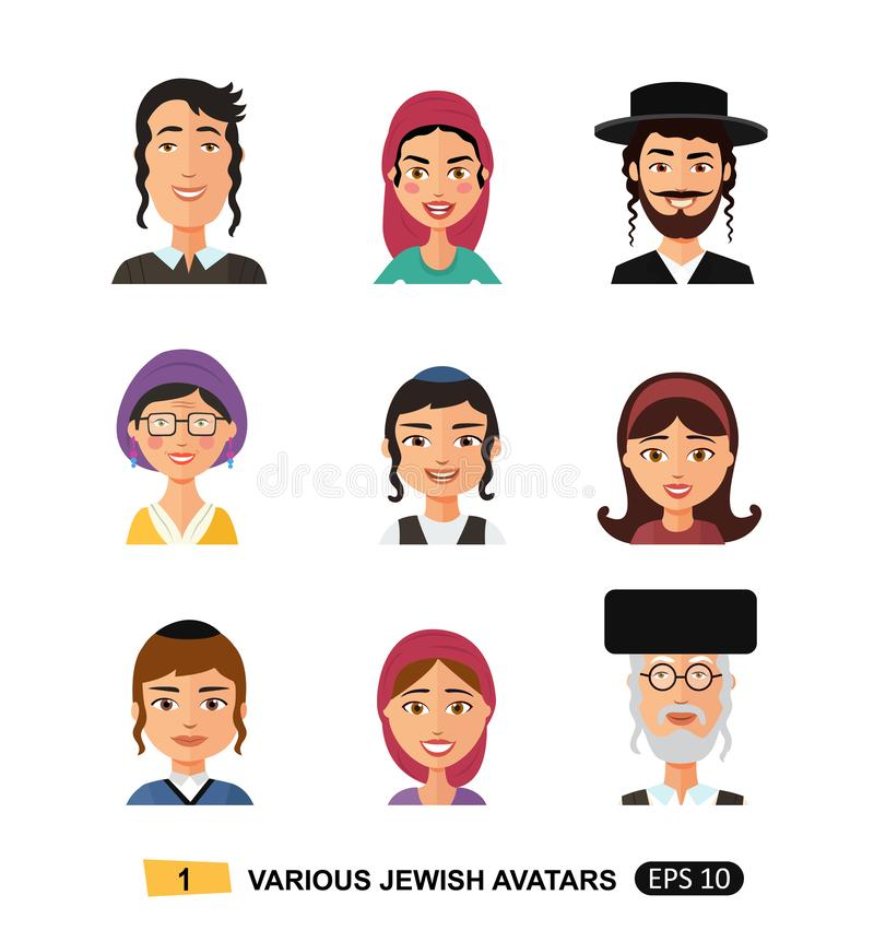 Vettore piano di concetto del fumetto dell'icona ebrea della gente isolato su ENV bianco 10 illustrazione di stock