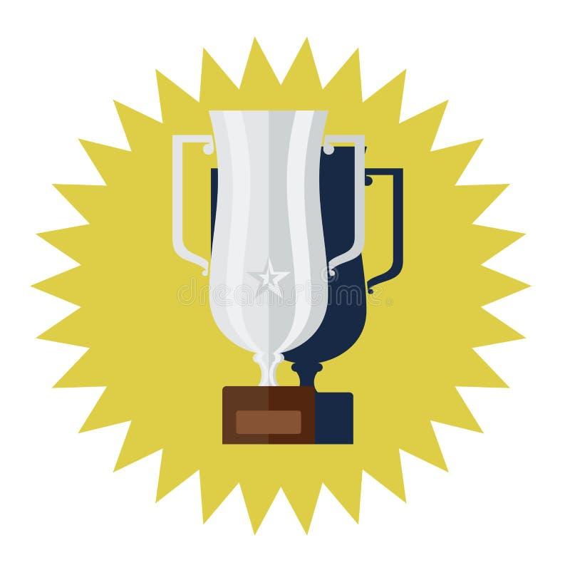 Vettore piano di progettazione della tazza d'argento del vincitore illustrazione di stock