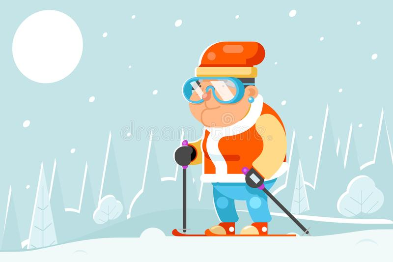 Vettore piano di progettazione dello sciatore di corsa con gli sci degli sport invernali di attività di vecchiaia dell'uomo del f illustrazione vettoriale