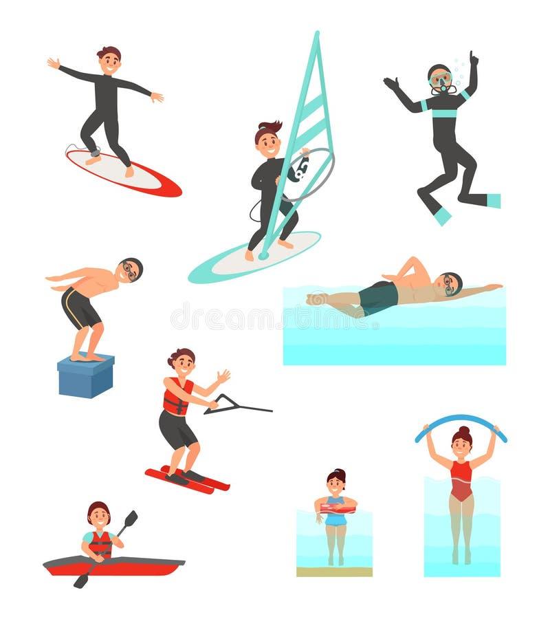 Vettore piano fissato con i giovani addetti in vari sport acquatici Vacanza di estate Stile di vita attivo illustrazione di stock