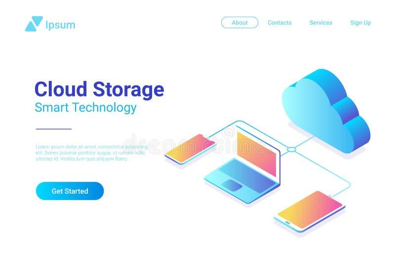 Vettore piano isometrico della rete di stoccaggio della nuvola di dati illustrazione di stock