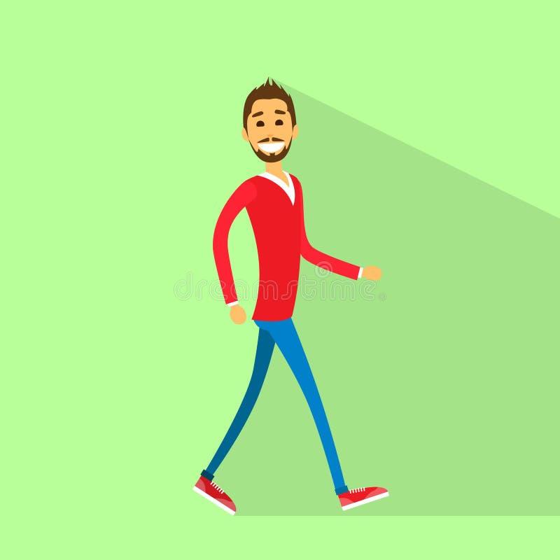 Vettore piano laterale di camminata dell'uomo felice casuale illustrazione di stock