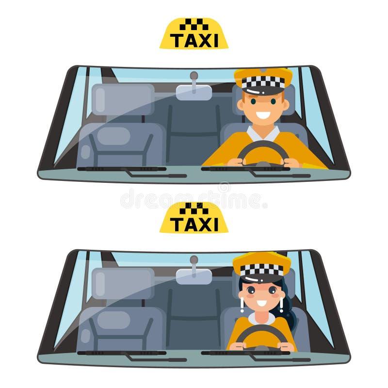Vettore piano movente femminile maschio di progettazione isolato trasporto dell'autista del veicolo del taxi del lavoratore di au illustrazione vettoriale