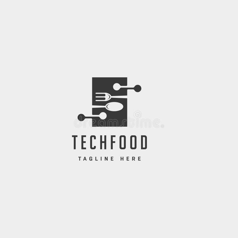 vettore piano semplice moderno di progettazione del modello di logo di tecnologia alimentare royalty illustrazione gratis