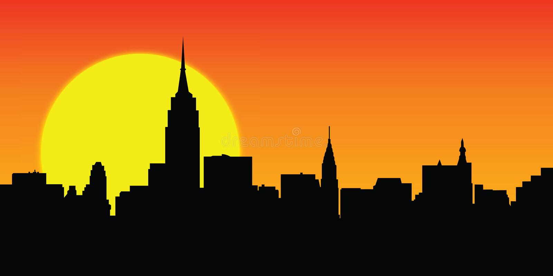 Vettore pieno di sole di New York dell'orizzonte royalty illustrazione gratis