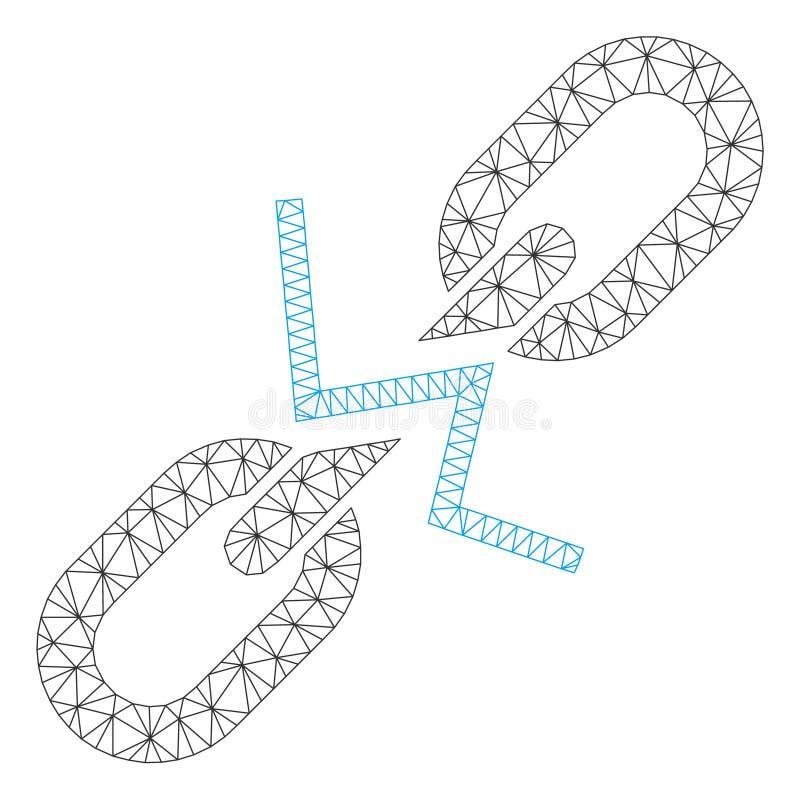 Vettore poligonale Mesh Illustration della struttura del collegamento a catena rotto illustrazione di stock