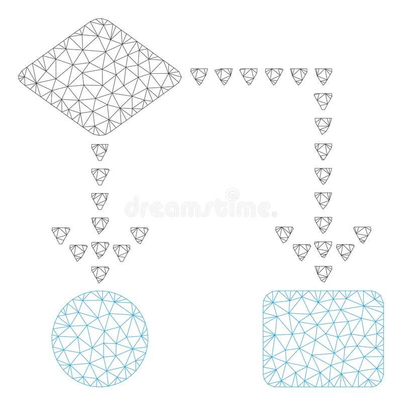 Vettore poligonale Mesh Illustration della struttura del diagramma di flusso di algoritmo illustrazione di stock