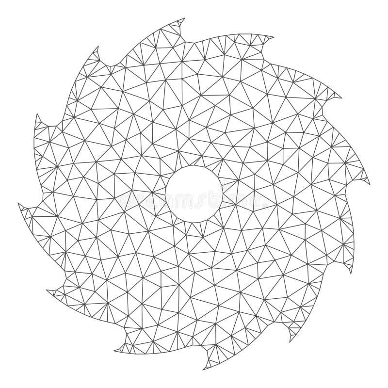 Vettore poligonale Mesh Illustration della struttura della sega circolare illustrazione vettoriale