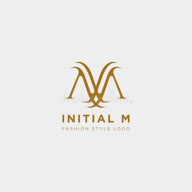 Vettore premio m. Logo nel colore dell'oro Bella progettazione del Logotype per marcare a caldo di lusso di modo della società illustrazione vettoriale