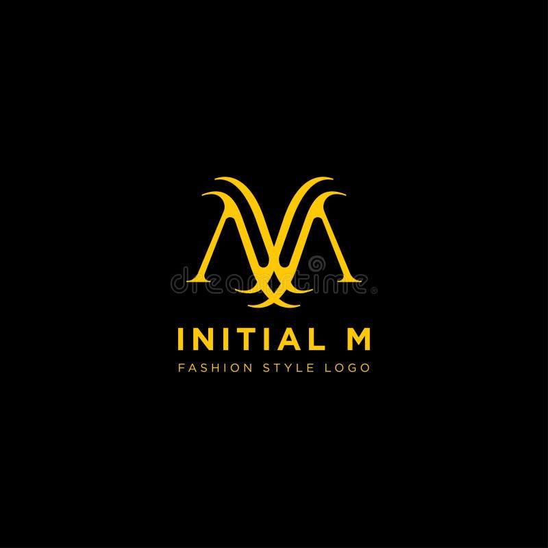 Vettore premio m. Logo nel colore dell'oro Bella progettazione del Logotype per marcare a caldo di lusso di modo della società royalty illustrazione gratis