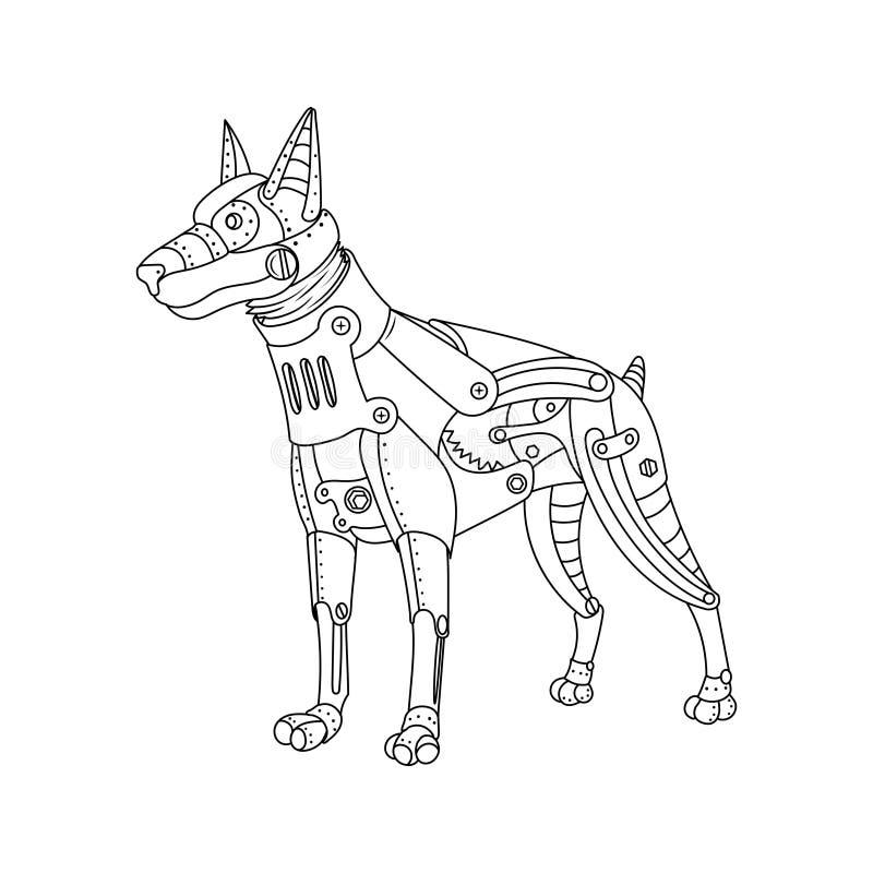 Vettore punk del libro da colorare del cane del doberman di stile del vapore illustrazione vettoriale