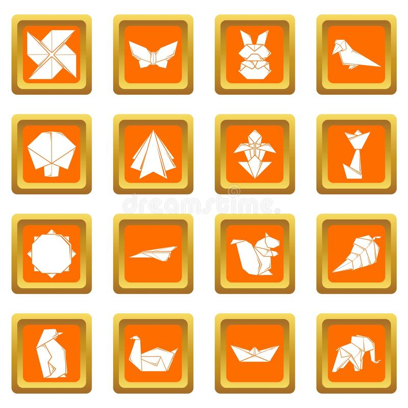 Vettore quadrato arancio fissato icone di origami illustrazione di stock
