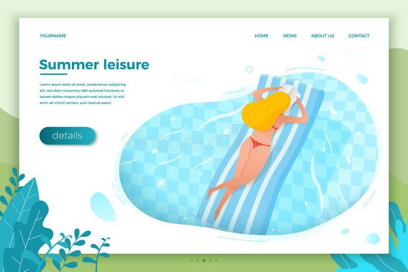 Vettore - ragazza che galleggia sul materasso gonfiabile illustrazione vettoriale