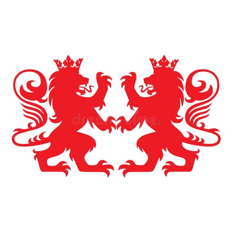 Vettore reale di Lion Heraldry Heraldic Logo Mascot illustrazione vettoriale