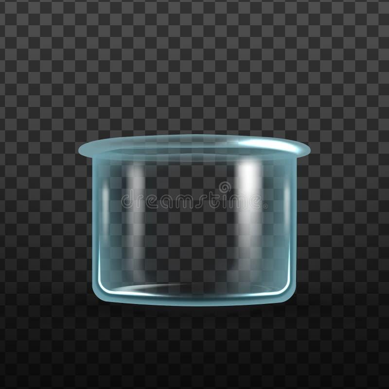 Vettore realistico del cristallizzatore della boccetta del laboratorio royalty illustrazione gratis