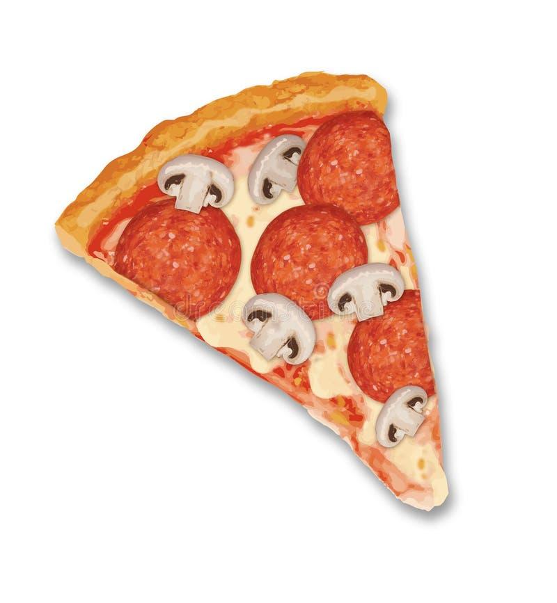Vettore realistico del fungo delle merguez della fetta della pizza fotografie stock