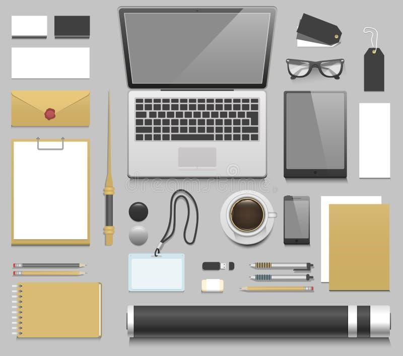 Vettore realistico del modello del posto di lavoro del progettista illustrazione di stock
