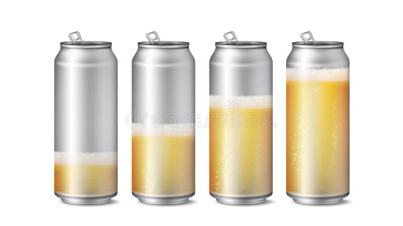 Vettore realistico del modello delle latte di birra Struttura del fondo della birra con schiuma e le bolle Livello differente di  illustrazione di stock