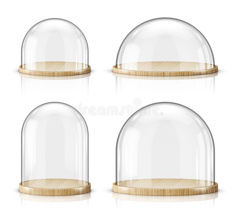Vettore realistico del vassoio di legno e della cupola di vetro illustrazione vettoriale