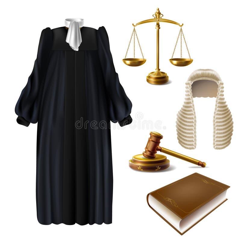 Vettore realistico del vestito convenzionale e del martelletto dal giudice illustrazione vettoriale