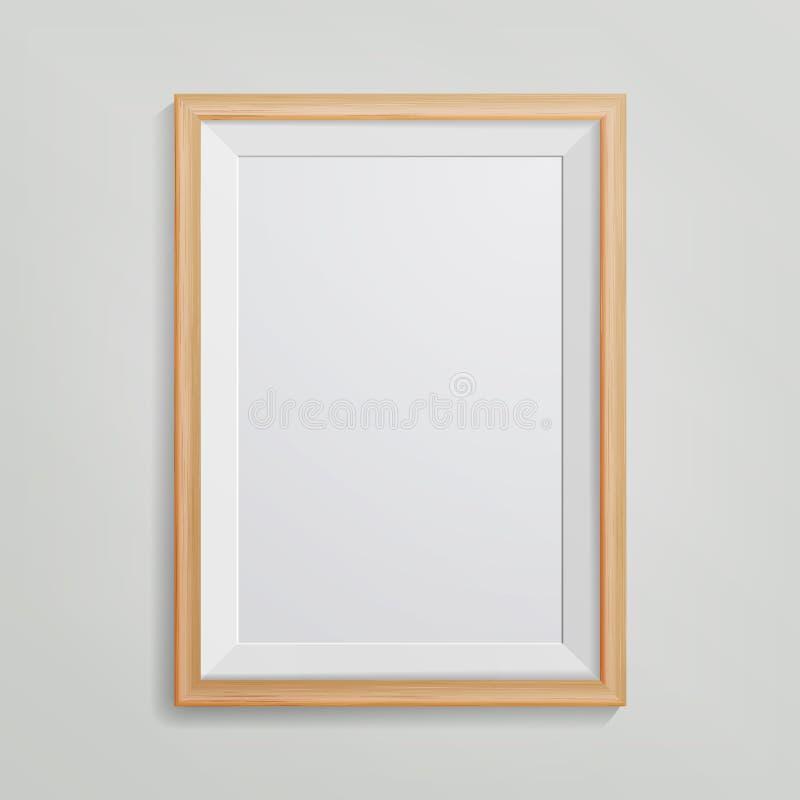 Vettore realistico della struttura della foto 3d svuotano la cornice in bianco di legno, appendente sulla parete bianca dalla par illustrazione vettoriale