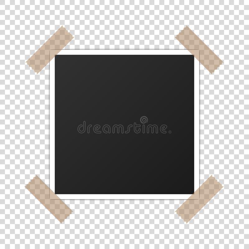 Vettore realistico stampato del photoframe del modello di carta della foto fotografia stock libera da diritti