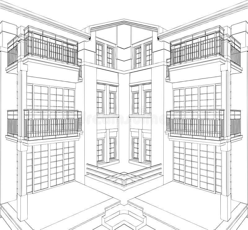 Vettore residenziale 08 della Camera dell'angolo moderno della costruzione royalty illustrazione gratis
