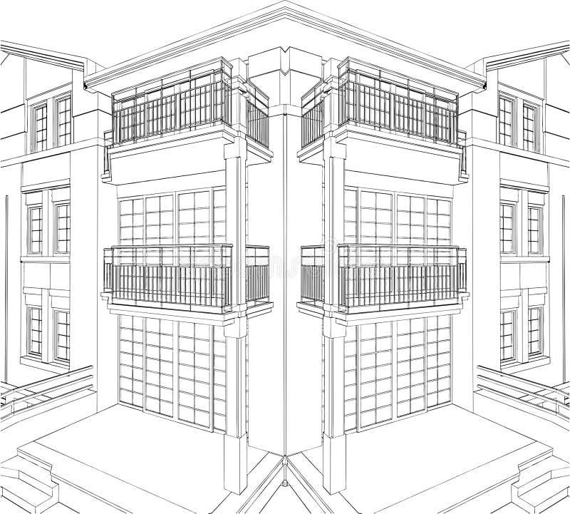 Vettore residenziale 09 della Camera dell'angolo moderno della costruzione illustrazione di stock