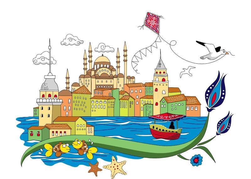 Vettore retro Costantinopoli d'annata della città illustrazione vettoriale