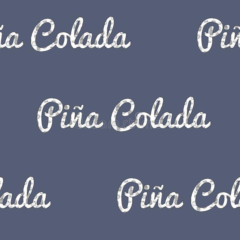 Vettore retro Pina Colada Pattern Letters su progettazione senza cuciture del modello dei blu navy royalty illustrazione gratis