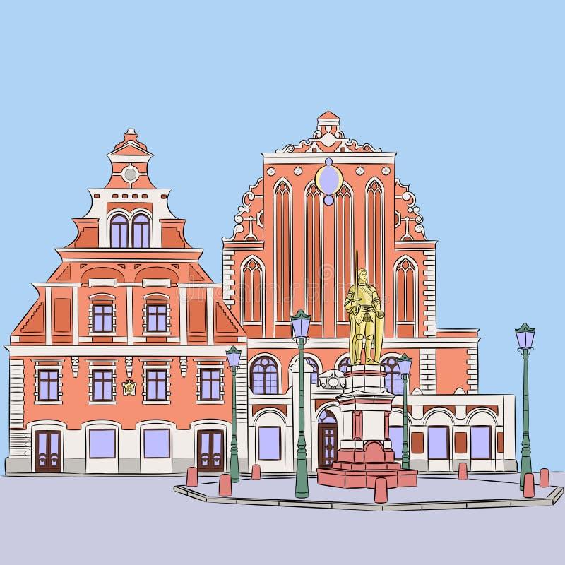 Vettore riga Quadrato del municipio illustrazione di stock