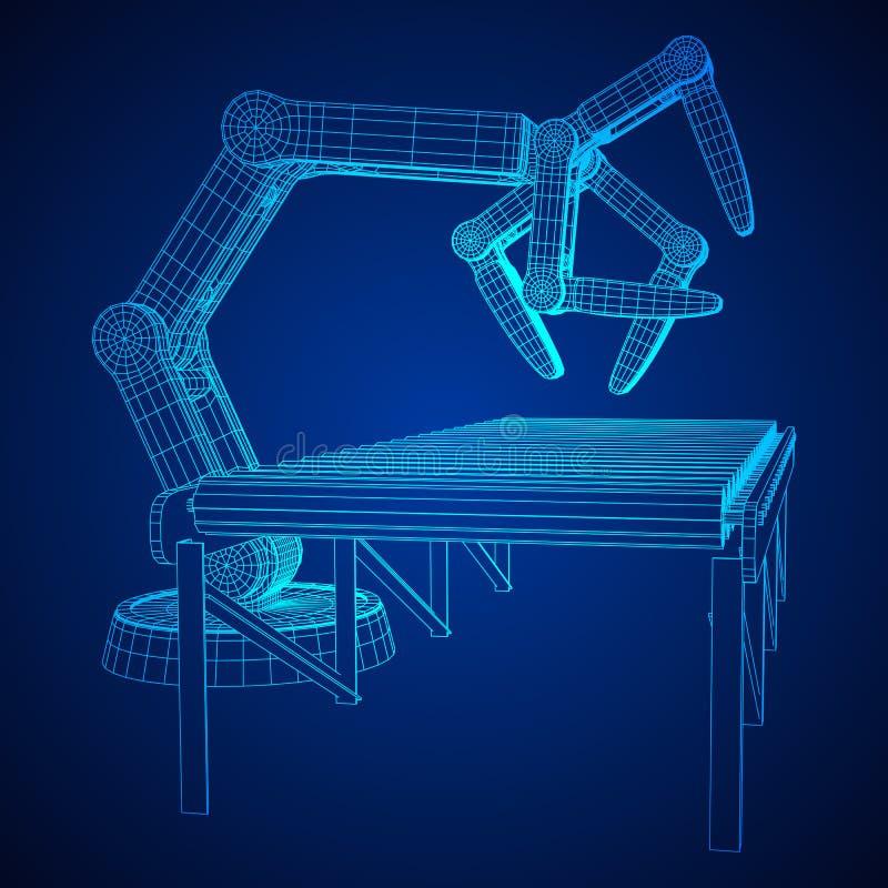 Vettore robot del trasportatore a rulli e del braccio illustrazione di stock