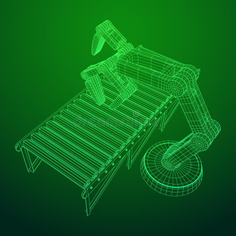 Vettore robot del trasportatore a rulli e del braccio illustrazione vettoriale