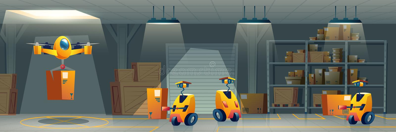 Vettore robotizzato del fumetto del magazzino di servizio postale illustrazione vettoriale