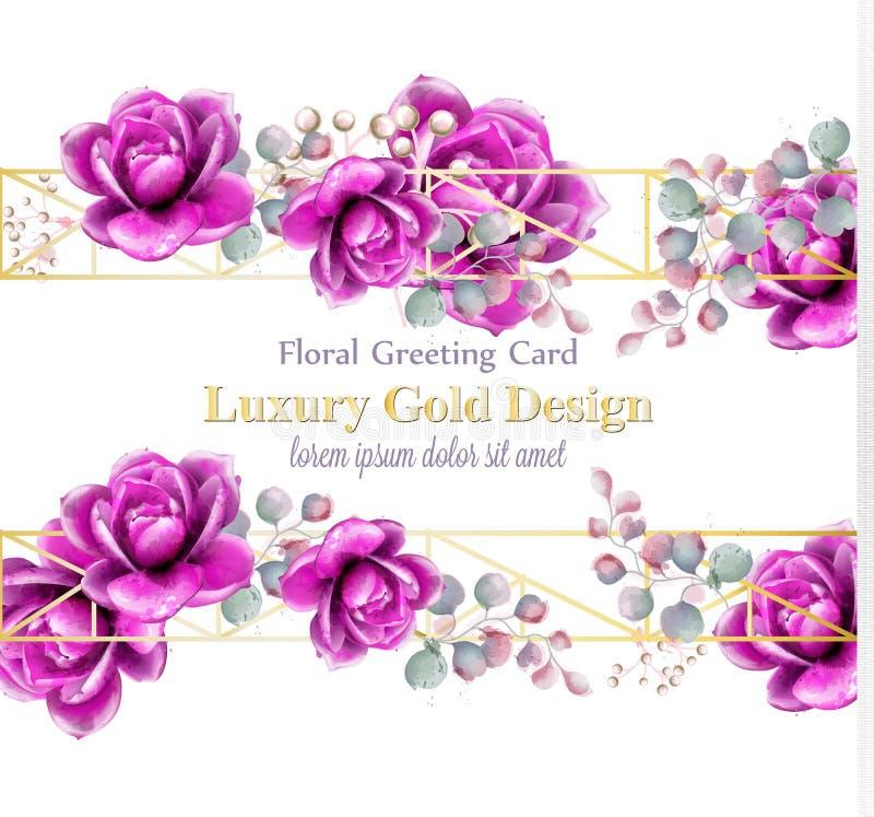 Vettore rosa della carta dell'acquerello dei fiori del lusso L'estratto dorato incornicia l'insegna della decorazione Illustrazio illustrazione vettoriale