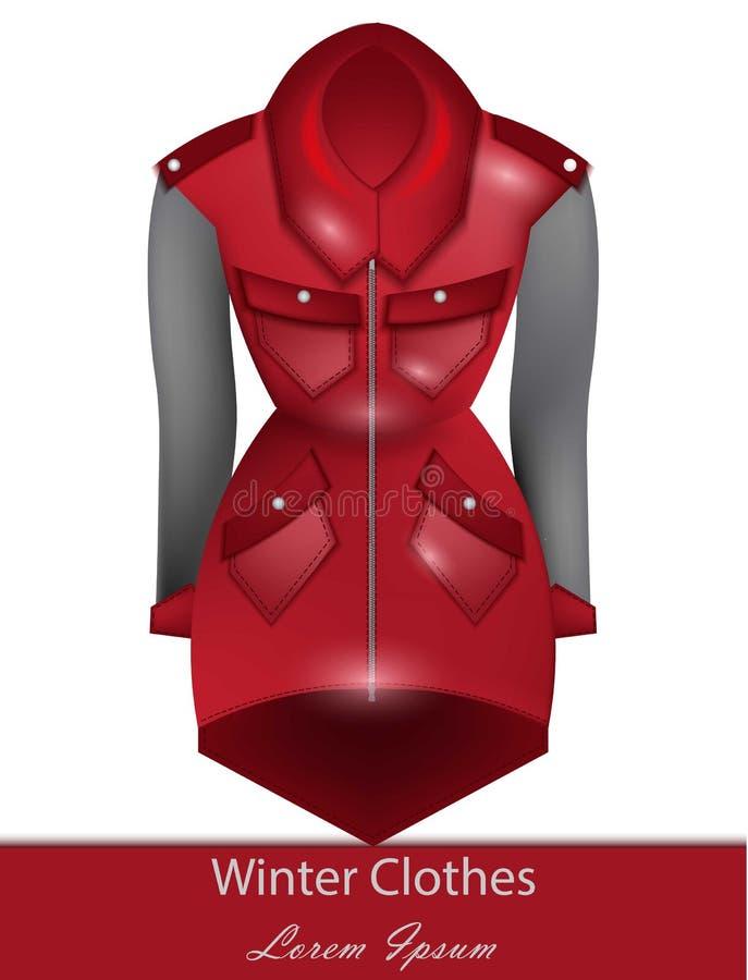Vettore rosso del cappotto Vestiti di progettazione di modo di inverno illustrazione di stock