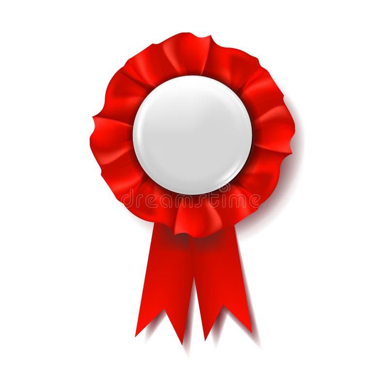 Vettore rosso del nastro del premio Distintivo del vincitore Progettazione di cerimonia Manifesto, carta, aletta di filatoio illu illustrazione vettoriale