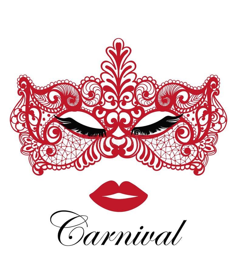 Vettore rosso del pizzo della maschera Partito sexy di travestimento Invito della carta di Mardi Gras Progettazione appassionata  royalty illustrazione gratis