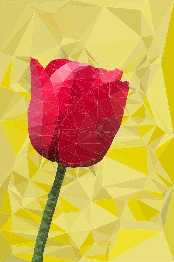 Vettore rosso del poligono del tulipano illustrazione di stock