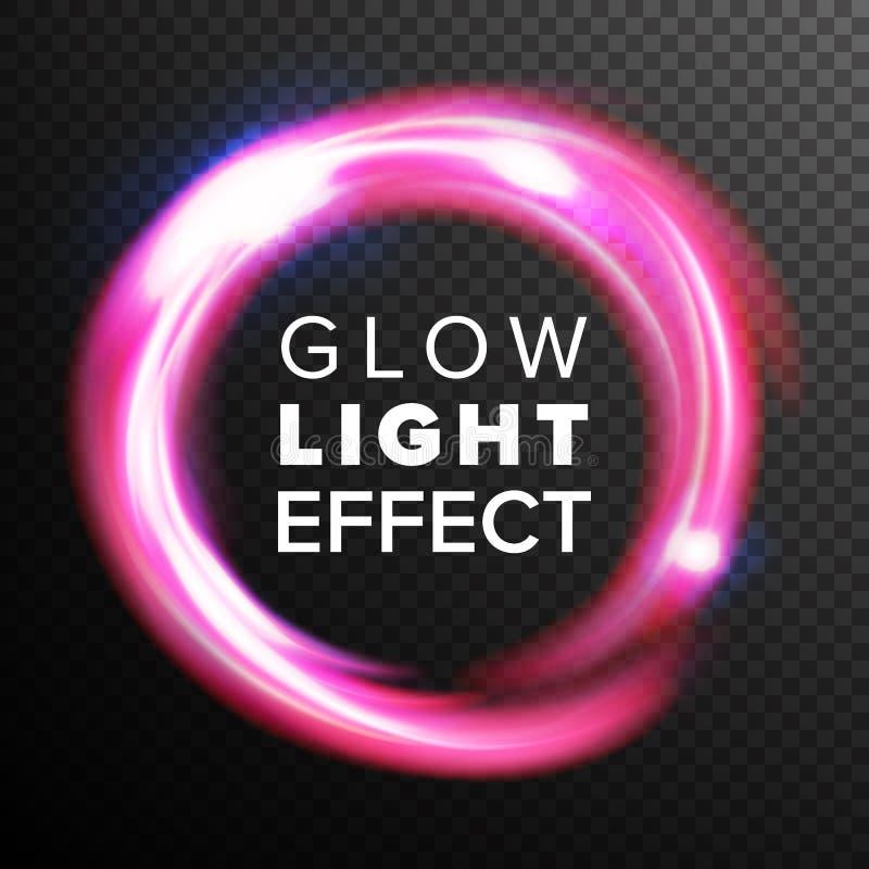 Vettore rosso di effetto della luce di incandescenza dei cerchi Linea turbinio al neon Ray Streaks di energia Chiarori astratti d illustrazione di stock