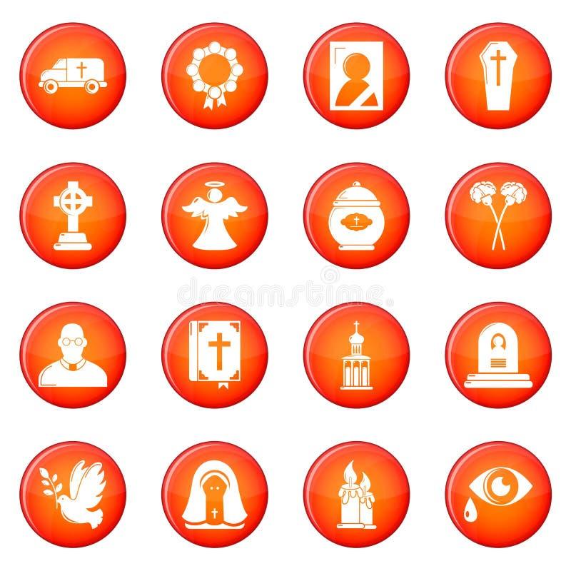 Vettore rosso fissato icone rituali funeree di servizio illustrazione vettoriale