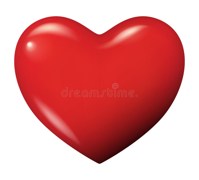 Vettore rosso perfetto del cuore isolato