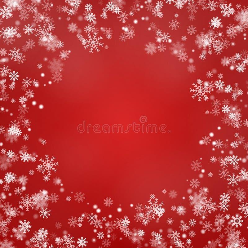 Vettore rotondo del confine del fiocco di neve isolato su fondo rosso Struttura di caduta della neve di Natale Natale di inverno illustrazione di stock